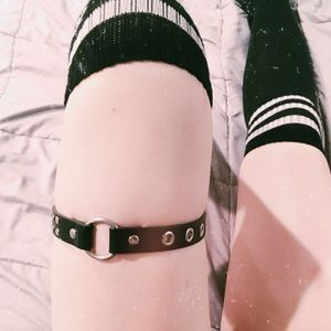 Black Faux Leather Leg Harness